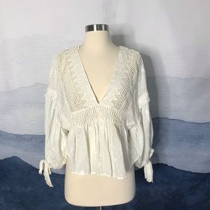 Free People Ivory Drive You Mad Blouse